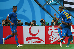 June 22, 2018 - Saint Petersburg, Russia - Casemiro (L), Neymar of the Brazil national football team celebrates after scoring a goal during the 2018 FIFA World Cup match, first stage - Group E between Brazil and Costa Rica at Saint Petersburg Stadium on June 22, 2018 in St. Petersburg, Russia. (Credit Image: © Igor Russak/NurPhoto via ZUMA Press)