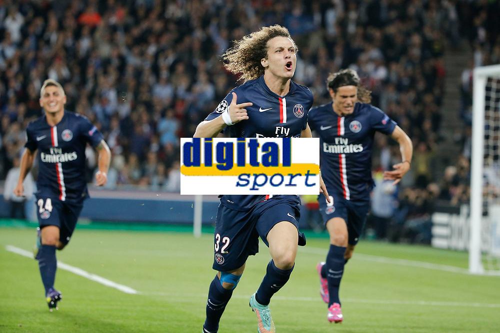 David Luiz (psg) - but - joie, Marco Verratti (psg), Edinson Cavani (psg)