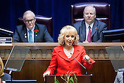 09 JANUARY 2012 - PHOENIX, AZ:   Arizona Governor Jan Brewer delivers her state of the state at the state legislature Monday. Gov Brewer delivered her State of the State inside while outside representatives of interest groups picketed and protested. The Arizona legislature started its 2012 session and Gov. Jan Brewer delivered her State of the State Monday, Jan 9.                   PHOTO BY JACK KURTZ