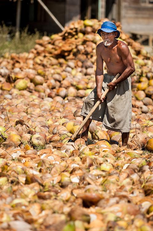 Portrait of a copra farmer in North Sulawesi, Indonesia