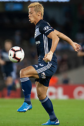 February 23, 2019 - Melbourne, VIC, U.S. - MELBOURNE, VIC - FEBRUARY 23: Melbourne Victory midfielder Keisuke Honda (4) controls the ball at round 20 of the Hyundai A-League Soccer between Melbourne City FC and Melbourne Victory on February 23, 2019 at Marvel Stadium, VIC. (Photo by Speed Media/Icon Sportswire) (Credit Image: © Speed Media/Icon SMI via ZUMA Press)