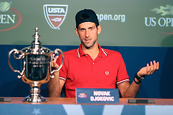 12.09.2011, Flushing Meadows, New York, USA, ATP World Tour, US Open, Finale Herren Einzel, im Bild NOVAK DJOKOVIC (SRB) mit dem Pokal für den turniersieg bei der anschliessenden Pressekonferenz // during ATP World Tour US Open tennis tournament final men singles at Flushing Meadows, New York, USA on 12/09/2011. EXPA Pictures © 2011, PhotoCredit: EXPA/ Newspix/ Marek Janikowski +++++ ATTENTION - FOR AUSTRIA/(AUT), SLOVENIA/(SLO), SERBIA/(SRB), CROATIA/(CRO), SWISS/(SUI) and SWEDEN/(SWE) CLIENT ONLY +++++