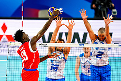 Miguel Angel Lopez Castro of Cuba vs Gregor Ropret of Slovenia and Alen Pajenk of Slovenia during volleyball match between Cuba and Slovenia in Final of FIVB Volleyball Challenger Cup Men, on July 7, 2019 in Arena Stozice, Ljubljana, Slovenia. Photo by Matic Klansek Velej / Sportida