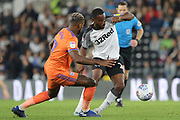 Derby County midfielder Florian Jozefzoon on the ball wins the ball during the EFL Sky Bet Championship match between Derby County and Cardiff City at the Pride Park, Derby, England on 13 September 2019.