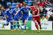 Joe Ralls of Cardiff city (l)  breaks away from Robert Tesche of Birmingham City. EFL Skybet championship match, Cardiff city v Birmingham City at the Cardiff City Stadium in Cardiff, South Wales on Saturday 11th March 2017.<br /> pic by Andrew Orchard, Andrew Orchard sports photography.