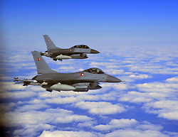 May 24, 2019 - Ahvenanmaan Maakunta, Finland - Royal Norwegian Air Force F-16C fighter aircraft fly in formation during NATO exercise Arctic Challenge May 24, 2019 over Finland. (Credit Image: © Kenneth Brown via ZUMA Wire)