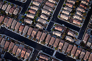Residential areas in Las Vegas are seen from the sky, Nevada, USA.