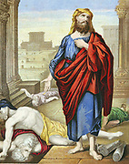 Jeremiah lamenting over the misery of Jerusalem. 'Bible': Lamentations 2.  7th century BC Old Testament prophet. Warned of fall of Jerusalem to Nebuchadrezzar (Nebuchadnezzar) and exile in Babylon. Foretold coming of Messiah. Chromolithograph c1860