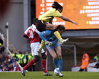 Fotball<br /> England 2004/2005<br /> Foto: SBI/Digitalsport<br /> NORWAY ONLY<br /> <br /> Arsenal v Liverpool<br /> FA Barclays Premiership<br /> 08/05/2005.<br /> <br /> Arsenal's Jens Lehmann is leaped by Liverpool's Milan Baros