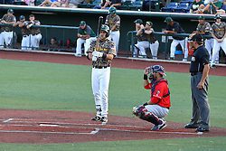 29 July 2016: Nolan Meadows bats, Connor Oliver catches, Mike Fichter umps during a Frontier League Baseball game between the Lake Erie Crushers and the Normal CornBelters at Corn Crib Stadium on the campus of Heartland Community College in Normal Illinois