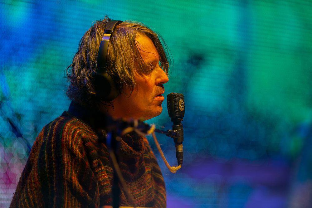 Steven Drozd of The Flaming Lips performing at Pacific Amphitheatre August 26, 2021. (Photo by Miguel Vasconcellos, OC Fair & Event Center)