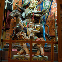 Wrathful & protective deities in Choijinlam Temple, a rare, remaining Tibetan Buddhist sanctuary in Ulaanbaator, Mongolia.  During the country's Soviet occupation, religion was discouraged and thousands of monks and lamas were executed.  The religion is making a resurgence after independence.