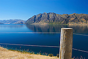 View of Lake Hawea, located in the South Island of New Zealand.