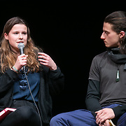 The second day of the Strike WEF march on Davos, 20th of January 2020, Switzerland. Speakers at an event in the Klosters Arena. Luisa Neubauer, co-founder of Fridays for Future Germany.  The march started in Schiers and walked the 24 kilomers to Klosters.  The aim is to finish in Davos with a public meeting in the town on the day the WEF begins. The march is a three day protest against the World Economic Forum meeting in Davos. The activists want climate justice and think that The WEF is for the world's richest and political elite only.