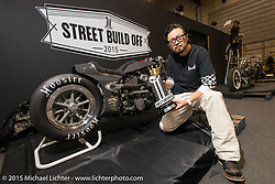 Yuichi Yoshizawa of Custom Works Zon with his 750 Street from the Harley-Davidson Japan Street Build Off at the Mooneyes Yokohama Hot Rod & Custom Show. Yokohama, Japan. December 6, 2015.  Photography ©2015 Michael Lichter.