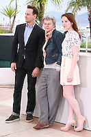 Josh Charles, Pascale Ferran and Anaïs Demoustier at the photo call for the film Bird People at the 67th Cannes Film Festival, Monday 19th May 2014, Cannes, France.