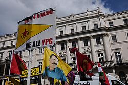 April 26, 2017 - London, United Kingdom - Members of London's Kurdish community protest in London, on April 26, 2017 against the Turkish military's airstrikes in Kurdistan. (Credit Image: © Jay Shaw Baker/NurPhoto via ZUMA Press)