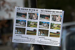 "© Licensed to London News Pictures. 27/10/2016. London, UK. A sign posted on a lamp post in the village of Harmondsworth near Heathrow Airport highlights local opposition to a third runway. The government has announced that a third runway will be built at the United Kingdom's busiest airport. The Cabinet are divided - with Foreign Secretary Boris Johnson saying that the project is ""undeliverable"". Conservative MP for Richmond Zac Goldsmith has resigned. Photo credit: Peter Macdiarmid/LNP"