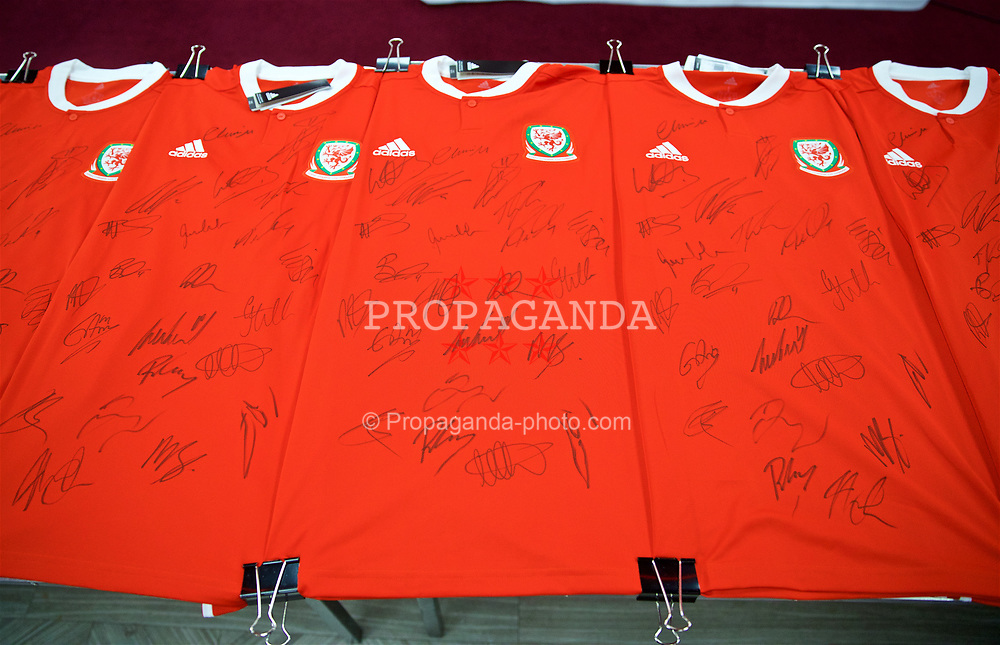 CARDIFF, WALES - Tuesday, September 4, 2018: Signed shirts at the Vale Resort ahead of the UEFA Nations League Group Stage League B Group 4 match between Wales and Republic of Ireland. (Pic by David Rawcliffe/Propaganda)
