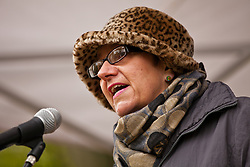 Luton, UK. 5th May, 2012. A woman addresses the We Are Luton/Stop The EDL rally, organised by We Are Luton and Unite Against Fascism in protest against a march by the far-right English Defence League.