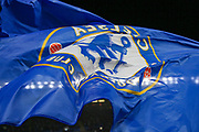 The Chelsea flag is waved prior to the Champions League group stage match between Chelsea and PAOK Salonica at Stamford Bridge, London, England on 29 November 2018.