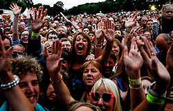 Pictured:  A sell out 9000 crowd get ready for headline act The Proclaimers at Party at the Palace in Linlithgow close to historic Linlithgow Palace . Andrew West/ EEm