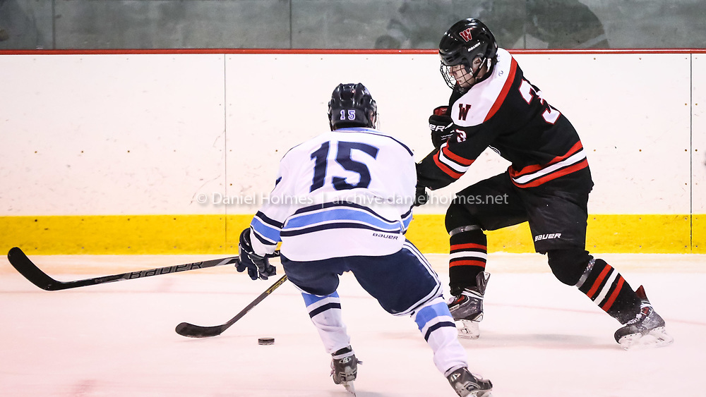 (3/2/16, FRAMINGHAM, MA) Wellesley's Carter Huff skates past the defense during the boys tournament hockey game against Franklin at Loring Arena in Framingham on Wednesday. Daily News and Wicked Local Photo/Dan Holmes
