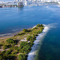 Vertical aerial Miami, Flordia's Biscayne Bay spoil or fill island adjacent to the intracoastal waterway.