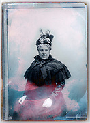 glass plate with portrait of adult woman and retouching paint France ca 1910s