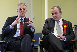 © Licensed to London News Pictures . 03/02/2014 . Manchester , UK . L-R Hilary Benn and Mike Kane . Hilary Benn , MP for Leeds Central and Shadow Community Secretary for the Labour Party , joins Labour candidate Mike Kane on the campaign trail ahead of the Wythenshawe and Sale East by-election , following the death of MP Paul Goggins . The pair speak to local pensioners about communities and housing . Photo credit : Joel Goodman/LNP