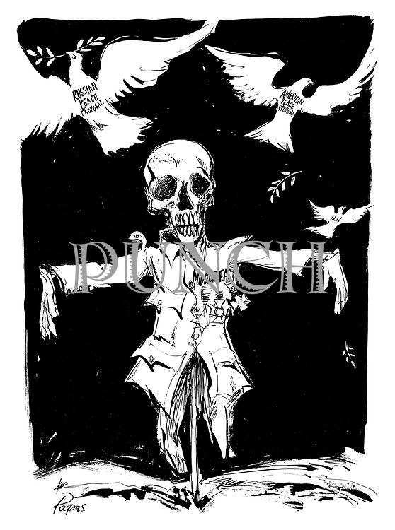 (Middle East scarecrow scares away Russian, American and UN Doves of Peace during the War of Attrition)