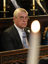 The Duke of York sitting in St George's Chapel at Windsor Castle ahead of the wedding of Prince Harry and Meghan Markle.