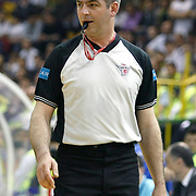 Referee's Murat BIRICIK during their Turkish Basketball league Play Off Final first leg match Efes Pilsen between Fenerbahce Ulker at the Ayhan Sahenk Arena in Istanbul Turkey on Thursday 20 May 2010. Photo by Aykut AKICI/TURKPIX