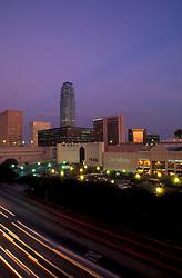 Stock photo of the Houston Galleria at night.