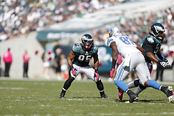 Philadelphia Eagles outside linebacker Mychal Kendricks (95) during the NFL game between the Detroit Lions and the Philadelphia Eagles on Sunday, October 14th 2012 in Philadelphia. The Lions won 26-23 in Overtime. (Photo by Brian Garfinkel)