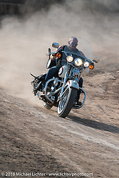 Ebay Jake having fun on the track after racing in the Sons of Speed vintage racing at the Full Throttle Saloon during the 78th annual Sturgis Motorcycle Rally. Sturgis, SD. USA. Thursday August 9, 2018. Photography ©2018 Michael Lichter.