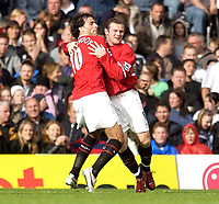 Photo: Daniel Hambury.<br />Fulham v Manchester United. The Barclays Premiership. 01/10/2005.<br />Manchester Utd's Wayne Rooney celebrates his goal, to make the score 1-2, with fellow scorer, Ruud van Nistlerooy.