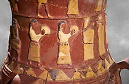 Close up of the Inandik Hittite relief decorated cult libation vase decorated with women relief figures coloured in cream, red and black playing instruments, mid to late 16th century BC - İnandıktepe, Turkey