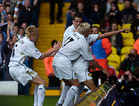 Photo. Glyn Thomas.<br /> Digitalsport<br /> NORWAY ONLY<br /> <br /> Leeds United v Charlton Athletic. <br /> FA Barclaycard Premiership. 08/05/2004.<br /> Leeds' Jermaine Pennant celebrates with teammates after putting his side 2-1 on the stroke of half time.