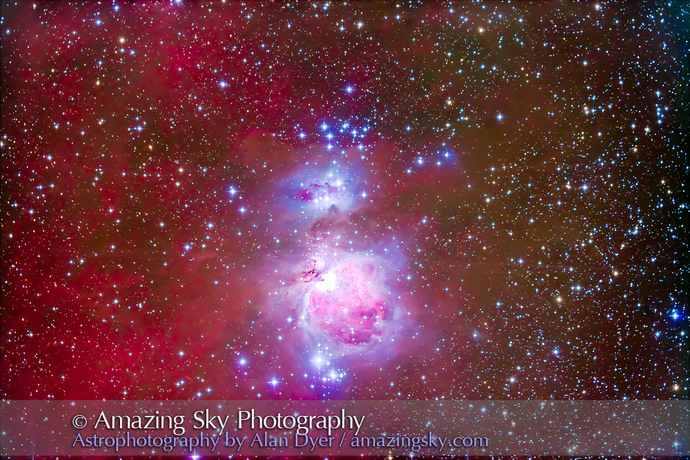 """The Orion Nebula, Messier 42, one of the brightest nebulas in the sky, glowing brightly like an island amid the much fainter clouds of stardust and gas that pervades the region. The bright young stars at the core of the nebula (here overexposed) light up the nearby gas clouds. The area is also filled with clusters of hot blue stars, such as NGC 1981 at top and NGC 1980 at bottom. Just above the main mass of the Orion Nebula is the blueish """"Running Man Nebula,"""" the reflection nebula NGC 1975.<br /> <br /> Some faint parallel streaks runnign horizontally across the image are trails from geostationary satellites that did not completely subtract when stacking the images in Median Combine mode as each frame had trails. <br /> <br /> This is a stack of 10 x 6 minute exposures with the TMB 92mm apo refractor at f/4.4 with the Borg 0.85x field flattener/reducer and the filter-modified Canon 5D MkII at ISO 800. Taken from New Mexico, Nov 27, 2014, U.S. Thanksgiving Day."""