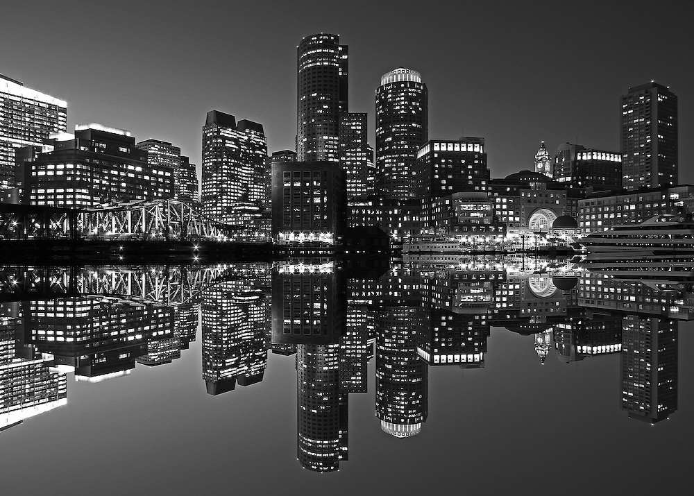 Boston B&W photography of the famous Boston Harbor in Downtown Boston. This historic and iconic New England city of Boston night scenery photography image is available as museum quality photography prints, canvas prints, acrylic prints or metal prints. Fine art prints may be framed and matted to the individual liking and decorating needs:<br /> <br /> http://juergen-roth.pixels.com/featured/boston-harbor-hotel-juergen-roth.html<br /> <br /> Good light and happy photo making! <br /> <br /> My best, <br /> <br /> Juergen<br /> Website: www.RothGalleries.com<br /> Twitter: @NatureFineArt<br /> Facebook: https://www.facebook.com/naturefineart<br /> Instagram: https://www.instagram.com/rothgalleries<br /> Photo Blog: http://whereintheworldisjuergen.blogspot.com