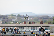 Newport supporters take in the last match of the season. Skybet football league two match, Newport county v Rochdale at Rodney Parade in Newport, South Wales on Saturday 3rd May 2014.<br /> pic by Mark Hawkins, Andrew Orchard sports photography.