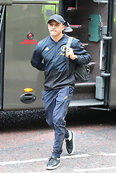 Alexis Sanchez of Manchester United is spotted on his way to catch a flight as the team fly to Turin on Tuesday afternoon to play Juventus in The Champions League on Wednesday night.