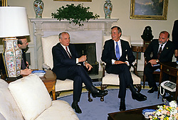 United States President George H.W. Bush, right, meets with President Mikhail Gorbachev of the Union of Soviet Socialist Republics, left, in the Oval Office of the White House in Washington, DC on Thursday, May 31, 1990. It was the start of three days of talks between the two leaders. Photo by Ron Sachs / CNP /ABACAPRESS.COM