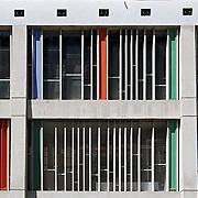 Firminy, France, Alvernia Rodano Alpi, 2016: Maison de la Culture, front est at Boulevard Périphérique du Stade (1960)- Le Corbusier arch - Photographs by Alejandro Sala