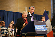 Mayor-Elect Bill de Blasio announces his appointment of Carmen Fariña, speaking, as Schools Chancellor at William Alexander Middle School in Park Slope, Brooklyn, NY on Monday, Dec. 30, 2013. <br /> <br /> CREDIT: Andrew Hinderaker for The Wall Street Journal<br /> SLUG: NYSTANDALONE