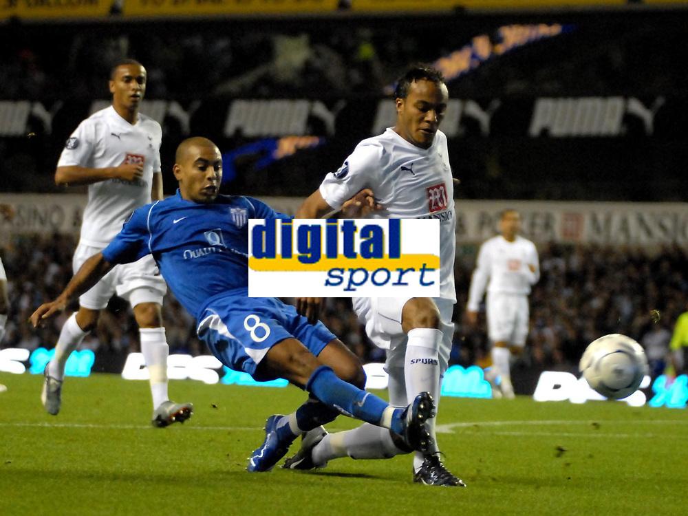 Photo: Ed Godden/Sportsbeat Images.<br /> Tottenham Hotspur v Anorthosis Famagusta. UEFA Cup, First Leg. 20/09/2007. Younes Kaboul (R), fails to stop Famagusta's Fabio De Matos Pereira, from having a shot on goal.