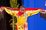 14 FEBRUARY 2012 - PHOENIX, AZ:   A member of the Apache Yellow Bird dancers performs during centennial activities at the State Capitol in Phoenix, Feb 14. Arizona's statehood day is February 14 and this year Arizona marked 100 years of statehood. It was the last state in the 48 contiguous United States.   PHOTO BY JACK KURTZ