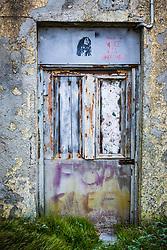 "Bob Marley stencil, saying ""Make Tea Not War"", Dooagh, Achill Island, County Mayo, Ireland"