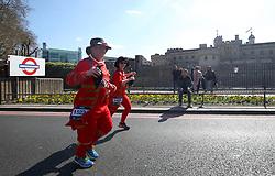 Competitors run past the Tower of London during the 2019 London Landmarks Half Marathon.